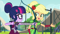 Applejack teaches Twilight how to shoot an arrow EG3.png