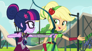 Applejack teaches Twilight how to shoot an arrow EG3