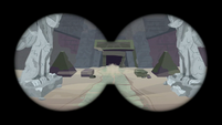 Binocular view of Caballeron entering the pyramid S7E18
