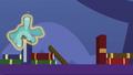 Blue teddy bear floats clumsily over bookshelf S7E3.png