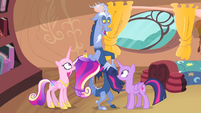 Discord pulling Twilight's and Cadance's manes S4E11