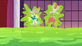 Fluttershy and Tree Hugger stuck to a wall S5E7.png