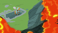 Lava trickling down toward Rockhoof S7E16