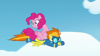 Pinkie Pie flying on Spitfire's back S7E23