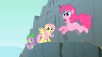 Pinkie Pie on the edge of a cliff S1E15