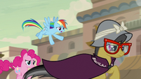 Rainbow Dash and Pinkie Pie run after A. K. Yearling S7E18