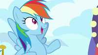 Rainbow Dash in awe of the hotel S8E5