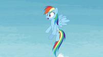 Rainbow looking at Twilight flying away S4E26