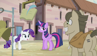 Rarity backs away from shopkeeper S5E1