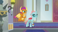 Smolder and Ocellus enter a new hallway S8E15
