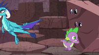 "Spike pushes ""rock""; Ember flies away S6E5"
