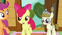Apple Bloom encouraging Sweetie Belle S7E6