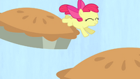 Apple Bloom jumping on pies S4E17