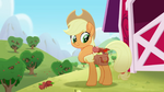 Applejack is about to ride Rainbow Roadtrip