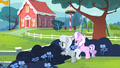 Diamond Tiara and Silver Spoon hiding behind the bushes S4E05.png
