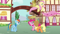 Fluttershy flying back to Cloudsdale S6E11