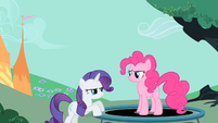 Pinkie Pie and Rarity staring at each other S1E26