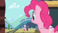 Pinkie Pie observando a Twilight y Cadance