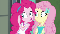 Pinkie Pie whispering to Fluttershy EGFF