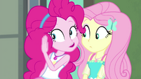 Pinkie Pie whispering to Fluttershy EGFF
