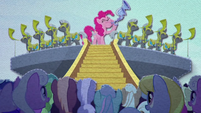 Pinkie blows flugelhorn with royal horn blowers BFHHS3