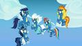 Rainbow Dash points to her parents in the stands S7E7.png