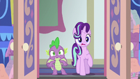 Starlight and Spike shocked by Discord's office S8E15