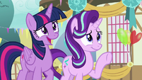 Twilight and Starlight nervously greet Thorax S7E15