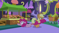 AJ drags Pinkie away from cupcake stand S9E17