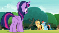 Applejack commending Rainbow Dash S8E9
