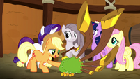 Applejack giving Pinkie the yovidaphone S8E18