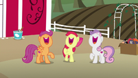 Cutie Mark Crusaders laughing together S7E8