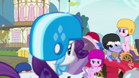 Derby racers glaring angrily at Rarity S6E14