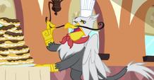 Gustave le Grand stroking his moustache S2E24