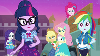 Mane Six looking surprised at Wallflower EGFF
