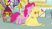 Pinkie Pie opening mouth wide to take a huge bite S2E18