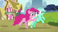 Pinkie Pie shoving Lyra toward Maud S7E4
