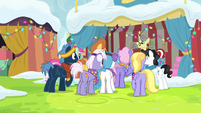 Ponies still crowded around Flim and Flam's stand MLPBGE