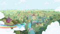 Rainbow Dash zooming over Ponyville S1 Opening.png