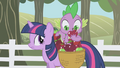 Spike looking at an apple with a worm S01E03.png