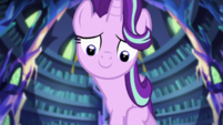 Starlight Glimmer appears over Sunset Shimmer EGS3
