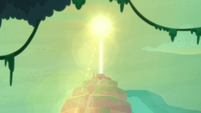Sun blasting the temple with sunlight S9E21