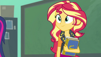 Sunset Shimmer watching her friends work EGFF