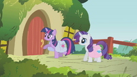 Twilight about to knock at Fluttershy's door S01E10