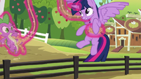 Twilight frees herself and Spike from the rope S6E10