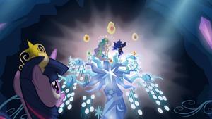 Twilight observando Celestia e Luna com os Elementos da Harmonia T4E02