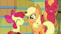 AJ, Apple Bloom, and Big Mac smile together S9E10