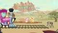 AJ and Fluttershy left at the station S8E23.png