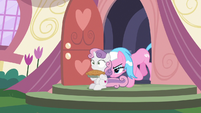 Aloe pushing Sweetie Belle out of the spa S9E23