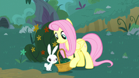 Angel puts flower in Fluttershy's basket S8E18